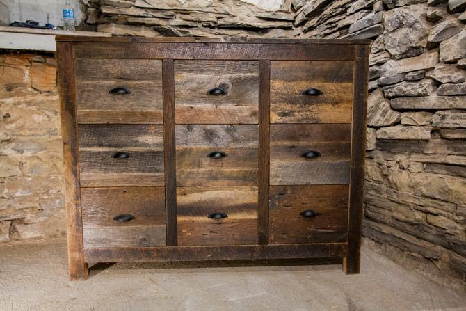 Old Bombay Weathered Grey Reclaimed Wood 9 Drawer Dresser by BarnWoodFurniture