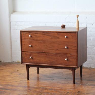 Vintage Kipp Stewart Drexel Declaration Mid Century Walnut Dresser Bachelor Chest 3 Drawer With Original Jewelry Box by GoodWilson