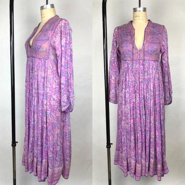 Vintage 1970s Light Lavender Indian Sheer Gauze Dress, Quilted Bodice Dress, Hippie Chic, Vintage Indian Dress, Size Sm/Med by MobyDickVintage