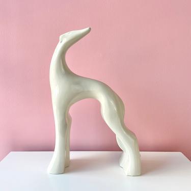 Hahaeger Greyhound Dog Statue - White by BarelaVintage