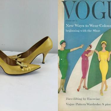 There Are Ways to Wear Colour - Vintage 1950s 1960s Golden Yellow Pearl Patent Leather Heels Pumps Shoes - 8.5 by RoadsLessTravelled2