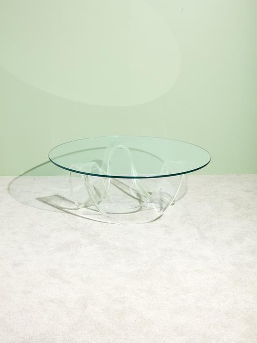 Lucite Ribbon Coffee Table
