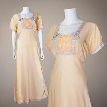 Vintage 40s Regency Nightgown, Large / 1940s Peach Slip Dress Lingerie / Smocked Bust Bias Cut Rayon Night Gown / Empire Waist Nightgown by SoughtClothier