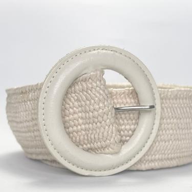 Vintage 1980s Coated Woven Cream Belt with Round Buckle Wide by timelesspieces