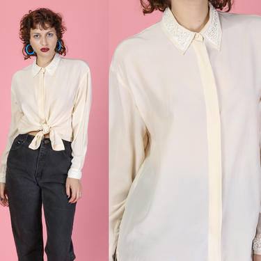 Vintage Silk Beaded Trim Button Up Blouse - Small | 80s 90s Clifford & Willis Long Sleeve Cream Collared Top by FlyingAppleVintage