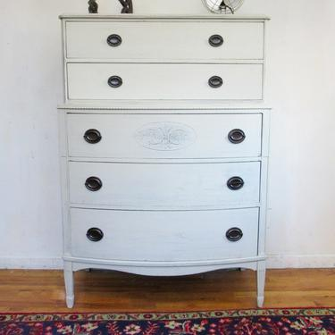 Antique Dresser, Vintage Dresser, White / Grey Dresser. Federal Style Dresser, Highboy Dresser, Painted Highboy, Free NYC Delivery by AntiqueBoutiqueNYC