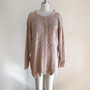 Oversized, Dusty Pink Pullover Sweater with Pearl and Ribbon Embellishment - 1980s by LogansClothing
