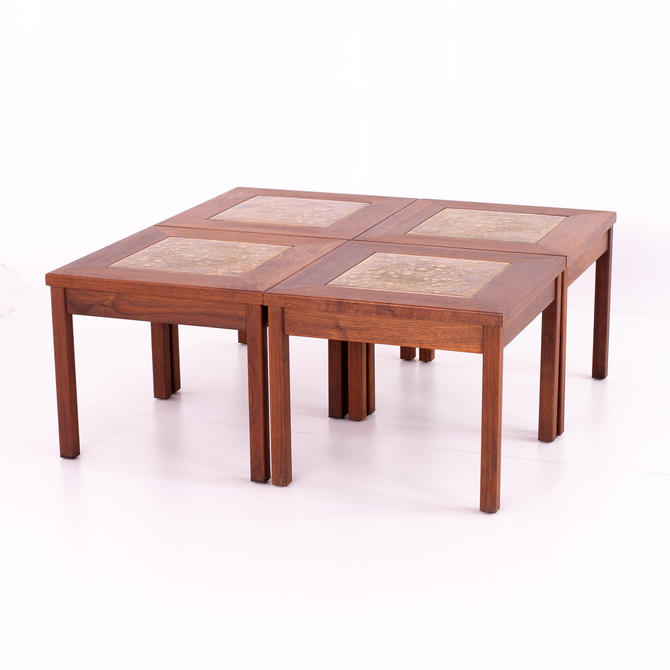 John Keal for Brown Saltman Walnut and Copper Tile 4 Piece Mid Century Coffee Side End Table - mcm by ModernHill