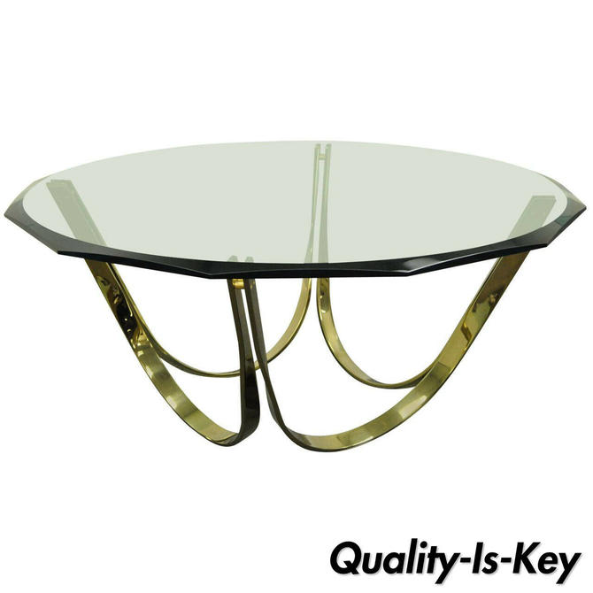 Trimark Brass Plated Steel & Glass Coffee Table after Roger Sprunger for Dunbar