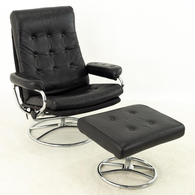 Ekornes Mid Century Black Leather Chrome Base Lounge Chair and Ottoman by ModernHill