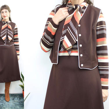 Vintage 70's Brown and Orange Chevron Striped Dress with Vest / 1970's Fall Striped Mock Neck Long Sleeve Dress / Bow / Women's Size Medium by RubyThreadsVintage