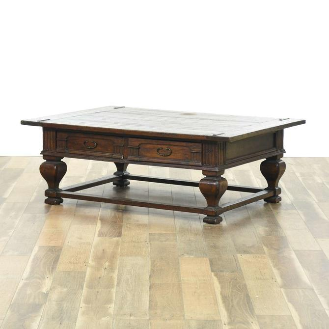 Gothic Revival Coffee Table W Rustic Top