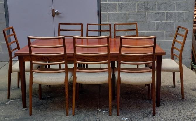 Niels Moller Set of 8 Model 82 Danish Modern Rosewood Dining Chairs