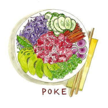 Poke Watercolor Art Print