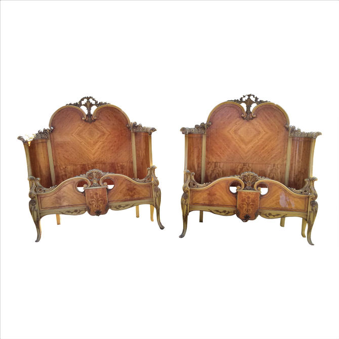 VINTAGE French Provincial Satinwood Twin Headboard and Matching Footboard  (2) A PAIR by 3GirlsAntiques