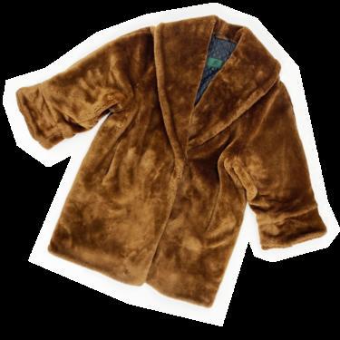 Jean Paul Gaultier 90s brown faux fur coat
