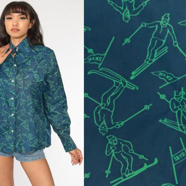 70s Ski Shirt Button Up Shirt Long Sleeve Skiing Shirt Blue Green Novelty Button Up Bohemian 1970s Vintage Skier Retro Large by ShopExile