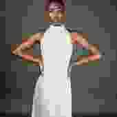 White Sequin Halter Dress