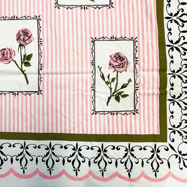 Vintage Floral Tablecloth Flower Print Pattern Mid-Century 1970s Retro Table Cloth Dining Kitchen Home Decor Linen Square Pink White Roses by CheckEngineVintage