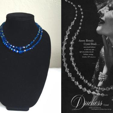 She Felt Like a Duchess Already - Vintage 1950s Royal Blue Aurora Borealis Cut Crystal 2 Strand Necklace by RoadsLessTravelled2