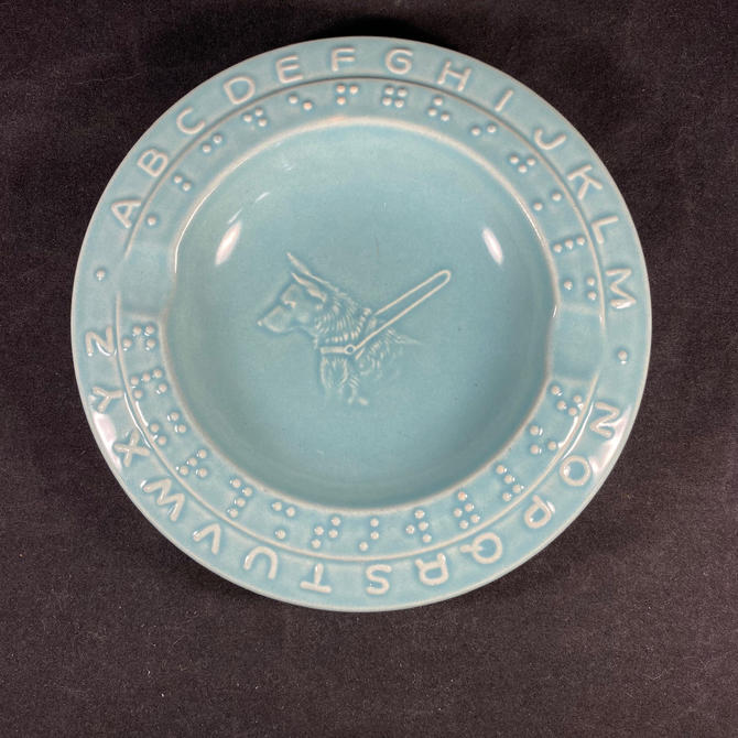 ABC Plate Braille Guide Dog Alphabet Reading Teaching Turquoise Antique by accokeekpickers