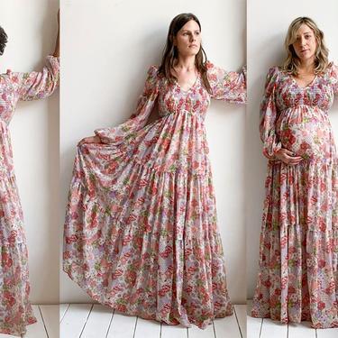1970s Pink Floral Gauzy Prairie Gown by Jack Kramer by milkandice