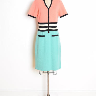vintage 80s sweater dress salmon green striped knit santana dress M clothing by huncamuncavintage