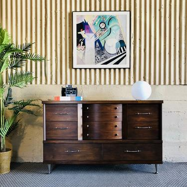 Art Deco / MCM Curved Walnut Dresser