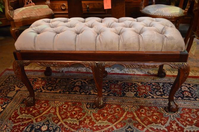 Antique Wood Bench with Velvet Grey Tufted Seat