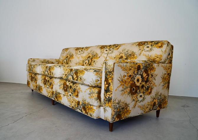 Gorgeous 1950's Mid-century Modern Sofa in Vintage 1970's Linen! by CyclicFurniture