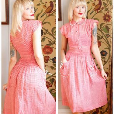 1940s Dress // Colette Gingham Day Dress  // Late vintage 40s dress by dethrosevintage
