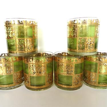 Set of 6 Culver Prado Rocks Glasses, Mid Century Modern Green And Gold Double Old Fashion Bar Glasses by HerVintageCrush