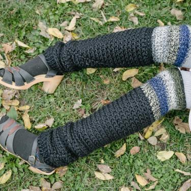 Black Space Leg Warmers/Crochet Leg Warmers/Knee High Soft Wool Leg Warmers/Crochet Legwarmers/Hand Knit Long Leg Warmers by KonjoCrochet