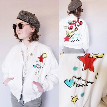 1980s White Bomber Jacket Laurel Escada / 80s Cotton Zip up Jacket Caputre Your Heart Applique Stars Multicolored Design / S 34 by RareJuleVintage