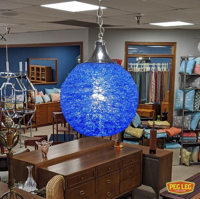 Vintage blue spun acrylic swag lamp