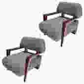 Pair of Custom Art Deco Midcentury Style Walnut Armchairs