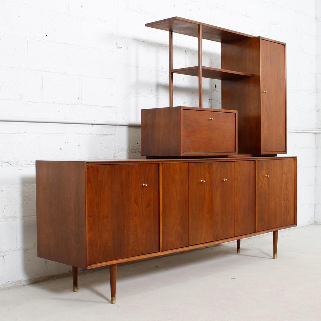 Mid Century Modern Furniture Virginia: MCM Walnut Sideboard / Wall Unit W / Cantilevered Bar