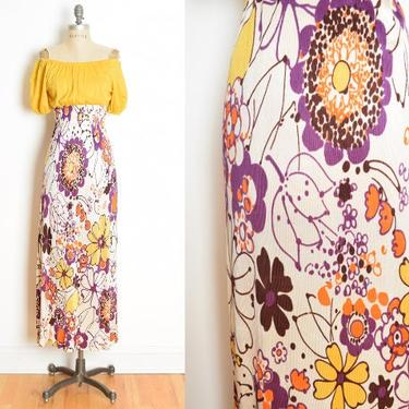 vintage 60s 70s dress yellow floral print peasant hippie boho long maxi S M psychedelic clothing by huncamuncavintage