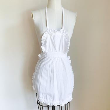 Vintage 1940-50s White Cotton Bib Apron / waitress apron by MsTips