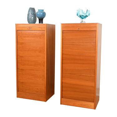Pair of Tall Danish Modern Teak Locking Tambour Door Filing Cabinets