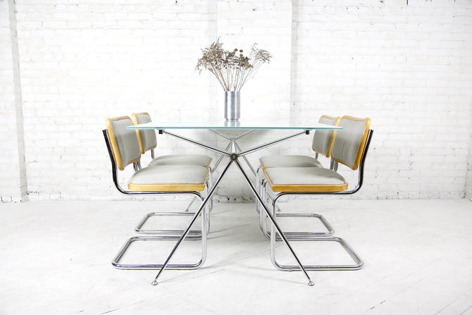 Sputnik chrome frame and white glass dining / conference table | Free shipping ONLY in NYC area by OmasaProjects