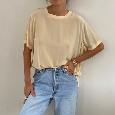 90s silk tee blouse / vintage creamy oatmeal silk crepe oversized box tee short sleeve crew neck pullover blouse tee   XL by RecapVintageStudio