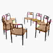 Set of 8 Danish Modern Teak Niels Moller #79 Dining Chairs