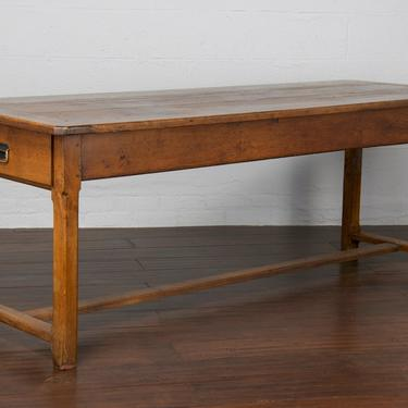 Early 19th Century Country French Farmhouse Oak Low Dining Table or Kitchen Table by StandOutSpaces