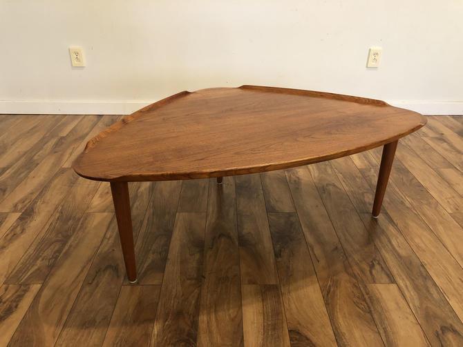 Aakjaer Jorgensen Danish Teak Triangular Coffee Table by Vintagefurnitureetc