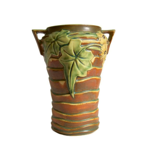 Roseville Luffa Vase 688-8 Vintage American Art Pottery Fine Art Ceramics Collectibles Rustic Farmhouse Decor Retro Woodland Vase 1930s by Curiopolis