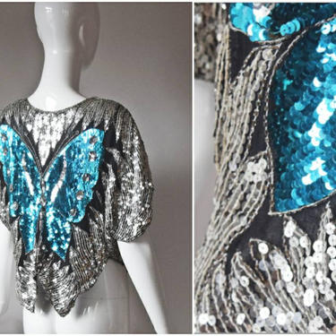 vtg 80s Valchi blue and silver sequin silk butterfly top | sequin batwing ladies blouse 1980s | disco womens holiday special shirt party by PinkhamRoadRetro