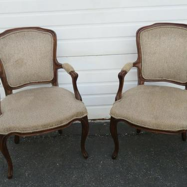 French Pair of Side Living Bed Room Den Fireplace Chairs 1883