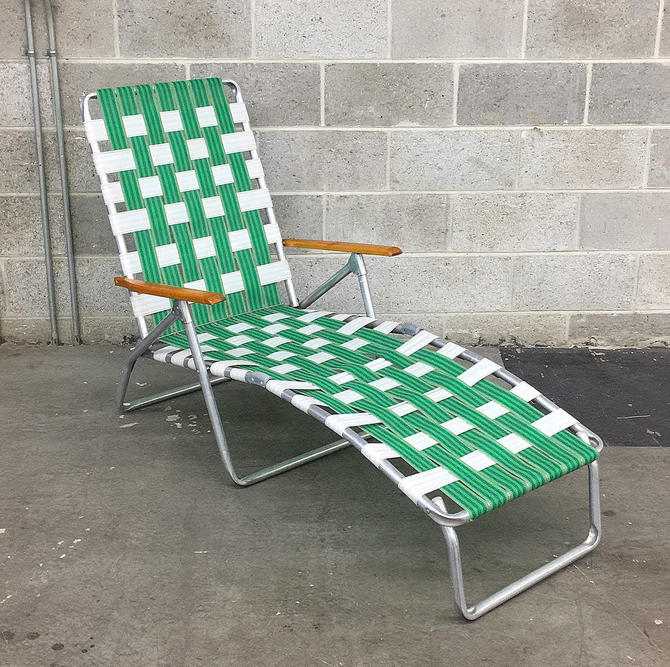 Vintage Chaise Lounge Retro 1980s Aluminum Lawn Chair + Rainbow Vinyl Webbing + Wood Armrests + Outdoor Living + Patio or Beach Furniture by RetrospectVintage215