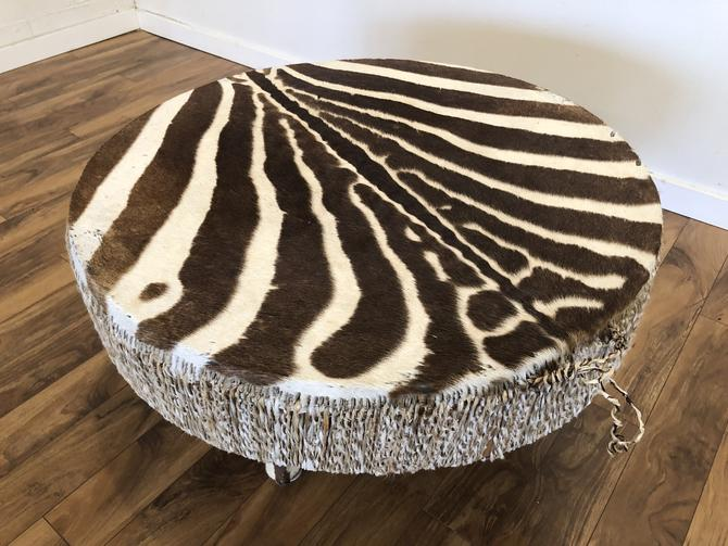 Zebra Hide Vintage Drum Table